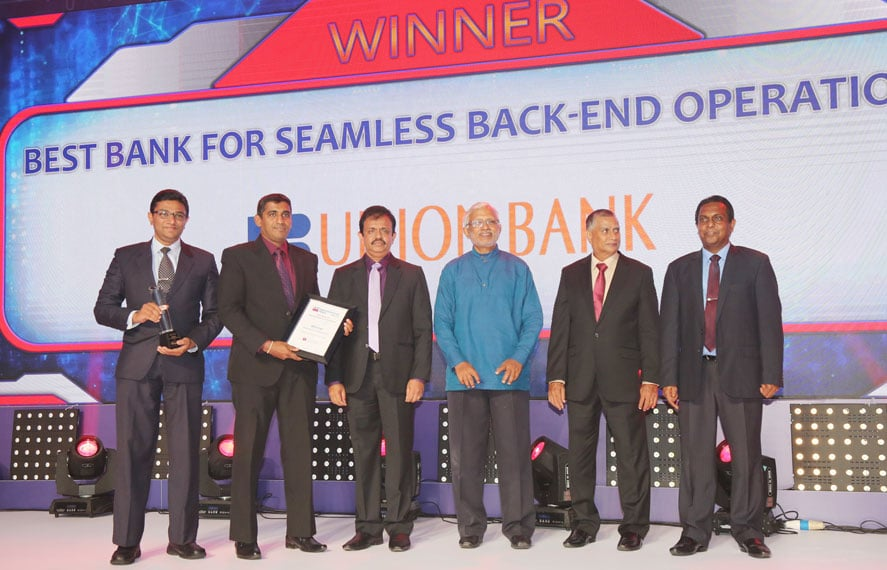 "Union Bank wins award for ""Best Bank for seamless back-end operations"" at the LankaPay Technnovation Awards 2018"